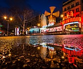 France, Paris, Paris, The Moulin Rouge after rain (Moulin Rouge, trademark, application for authorization required before publication)