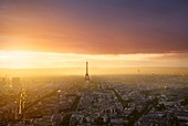 France, Paris, Paris, View from the top floor of Montparnasse tower at sunset