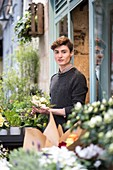 """France, Loire-Atlantique, Nantes, florist, Audric Ronfort, winner """"C'est le bouquet"""" broadcast on TF1"""