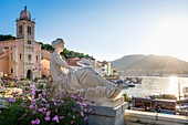 France, Pyrenees Orientales, Cote Vermeille, Port-Vendres, Notre-Dame de Bonne-Nouvelle church and the memorial, stone sculpture by Aristide Maillol