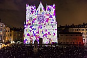 France, Rhone, Lyon, district of Vieux-Lyon, historical site listed as World Heritage by UNESCO, the Lyon Cathedral (Cathedrale Saint-Jean-Baptiste de Lyon) during the Fete des Lumieres (Light Festival), show Unisson of Made.in.hl