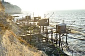 France, Charente Maritime, Gironde Estuary, Meschers-sur-Gironde, Carrelets (fisherman's hut) or square dipping nets
