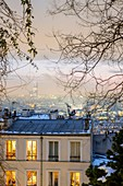 France, Paris, Montmartre, general view with the Montparnasse Tower, snowfalls on 07/02/2018
