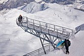 France, Hautes Pyrenees, Bagneres de Bigorre, La Mongie,the observatory of the Pic du Midi de Bigorre (2877m), the pontoon, 12 m long metal walkway suspended above the void