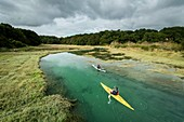 France, Cotes d'Armor, Plurien, kayaker on the site of the Pont du Marais