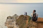 France, Seine Maritime, Pays de Caux, Cote d'Albatre (Alabaster Coast), Etretat, the Aval cliff, the Manneporte