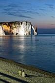 France, Seine Maritime, Pays de Caux, Cote d'Albatre (Alabaster Coast), Etretat, the beach, the Aval cliff, the Arch and the Aiguille (Needle) d'Aval