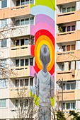France, Paris, 13th district, Street Art, the work Bambin in shorts of the artist ©Julien Seth Malland