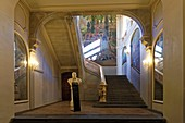 France, Haute Garonne, Toulouse, Capitole square, town hall, stairway of honour and Jean Jaures bust