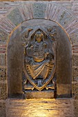 France, Haute Garonne, Toulouse, a stop on el Camino de Santiago, Saint Sernin basilica listed as World Heritage by UNESCO, the ambulatory or Tour des Corps Saints, marble sculpture of a the Christ in majesty craved at the fence of the choir