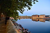France, Haute Garonne, Toulouse, Garonne banks, Henri Martin Promenade, Quai Lucien Lombard, Pont Neuf and Hotel Dieu St Jacques, listed as World Heritage by UNESCO