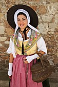 France, Alpes Maritimes, Cannes, Dancer in traditional provencal costume in the old district of the Suquet