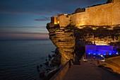 France, Corse du Sud, Bonifacio, the ramparts of the citadel illuminated