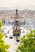 France, Bouches du Rhone, Marseille, Vieux-Port (Old Harbour) the replica Hermione leaves Marseille after a 4 days mooring from 12 to 15th april 2018 leaves Marseille on the 16th