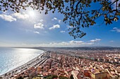 France, Alpes Maritimes, Nice, the Baie des Anges, the Promenade des Anglais and the district of old Nice from the Colline du Château