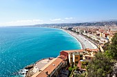 France, Alpes Maritimes, Nice, the Baie des Anges, in the foreground the sundial of the esplanade of Rauba Capeù, the Promenade des Anglais in the background