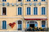 France, Bouches du Rhone, Marseille, Old Port, facade of the Bellevue Hotel