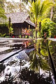 France, French Guiana, Kourou, Main hut of relaxation and restoration after the rain, Wapa Lodge