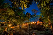 France, French Guiana, Kourou, Main hut of relaxation and restoration, Wapa Lodge by night