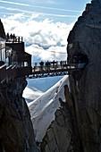 France, Haute Savoie, Chamonix Mont Blanc, terrace of the Aiguille du Midi (3848m), Mont Blanc range