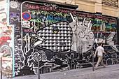 France, Rhone, Lyon, wall painting street rue des Augustins