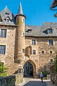 France, Correze, Uzerche, Becharie street and Cledat Hotel or Becharie castle, Vezere valley