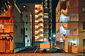 Night scene of old and new apartment block buildings,Osaka,Japan