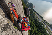 Big wall climbing with portaledge,Squamish,British Columbia,Canada