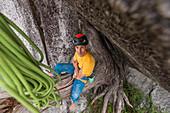 Climber resting,trad climbing,Stawamus Chief,Sea to Sky corridor,Squamish,British Columbia,Canada