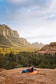 Woman relaxing,Schnebly Hill Road,Sedona,Arizona,United States
