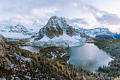 Panoramic view of Mount Assiniboine and Sunburst peak,Great Divide,Canadian Rockies,Alberta,Canada