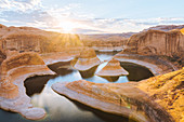 Ovewrhead view of Reflection Canyon,river bends and canyon gorge near Lake Powell at sunrise.