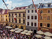 Musicians highlining over the Market Square, Old Town, Urban Highline Festival, Lublin, Lublin Voivodeship, Poland, Europe