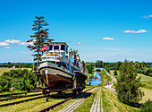 Tourist Boat in Cradle at Inclined Plane in Jelenie, Elblag Canal, Warmian-Masurian Voivodeship, Poland, Europe