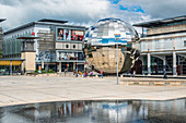 Millennium Square with the Planetarium in the form of a huge walk-in mirror ball in Bristol, England, United Kingdom, Europe
