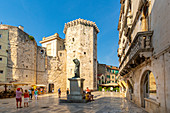 View of Venetian Tower in Fruit Square, Split, Dalmatian Coast, Croatia, Europe