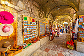 View of Old Town market stalls in Kotor, UNESCO World Heritage Site, Kotor, Montenegro, Europe
