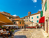 View of cafes in the Old Town, UNESCO World Heritage Site, Kotor, Montenegro, Europe