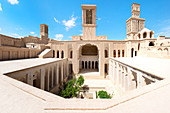 Aghazadeh Mansion courtyard and wind catcher, Abarkook, Yazd Province, Iran, Middle East