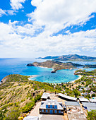 Aerial panoramic by drone of Shirley Heights towards Galleon Beach and English Harbour, Antigua, Leeward Islands, West Indies, Caribbean, Central America