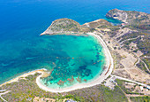 Aerial view by drone of the fine white sand of Half Moon Bay washed by Caribbean Sea, Antigua, Leeward Islands, West Indies, Caribbean, Central America
