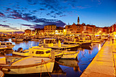 View of harbour and the old town with the Cathedral of St. Euphemia at dusk, Rovinj, Istria, Croatia, Adriatic, Europe