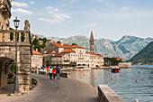 Promenade of Perast, Bay of Kotor, UNESCO World Heritage Site, Montenegro, Europe