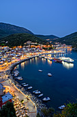 Elevated view of Parga town at night, Parga, Preveza, Greece, Europe