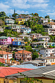 View of colourful houses that overlook the Carnarge of St. George's, Grenada, Windward Islands, West Indies, Caribbean, Central America