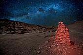 Moon Valley at night with Milky Way, San Pedro Atacama Desert, Chile, South America