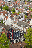 The rooftops and houses of the Jordaan in Amsterdam viewed from above, Amsterdam, North Holland, The Netherlands, Europe