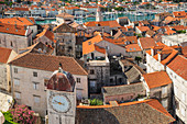 View from St. Laurentius Cathedral across the Old Town, Trogir, UNESCO World Heritage Site, Dalmatia, Croatia, Europe