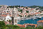 View from Sveti Marko Church to Arsenal and promenade at the port, Hvar, Hvar Island, Dalmatia, Croatia, Europe