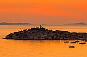 Primosten at sunset, Adriatic Coast, Dalmatia, Croatia, Europe